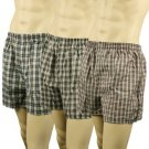 Men's 3pk Plaid Boxer Brief Underwear Comfort Waistband Assorted #6  XL 42-44