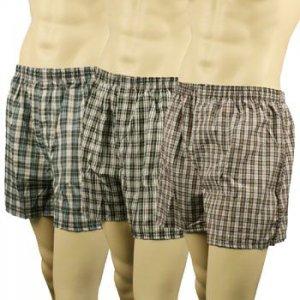 Men's 3pk Plaid Boxer Brief Underwear Comfort Waistband Assorted #6  XL 42-44