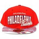 100% Cotton Philadelphia Zubaz Snapback Adjustable Baseball Cap Hat Red White