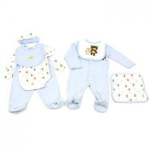Baby Boy 8pc bear gift set Layette Bodysuit Pants 2 Bibs Towel Hat Mitten 6-9