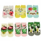 Girls Summer Left Right 6 Pairs Fun Cute Cartoon Faces Ages 2-4+ Ankle Low Socks