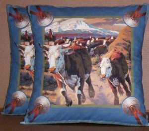 ~ SALE ~ 2 CATTLE DRIVE FABRIC THROW PILLOW COVERS or WALL  Large Pillow Panels