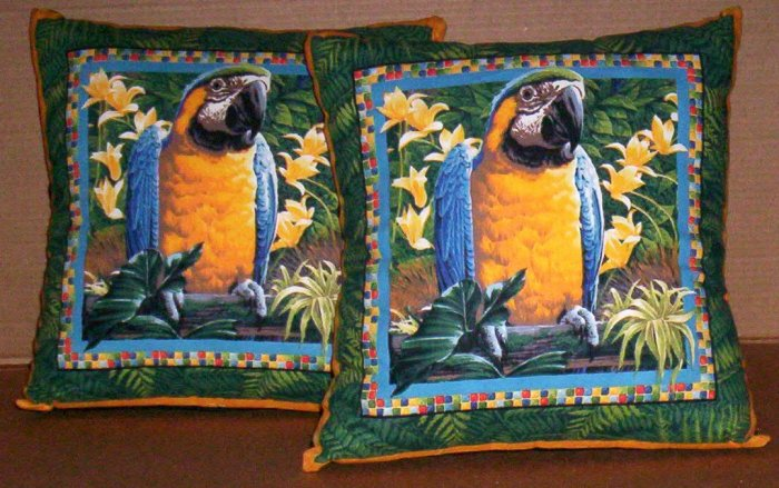 ~ SALE ~ 2 MACAW FABRIC THROW PILLOW COVERS or WALL HANGING PET BIRD BIRDS Parrot