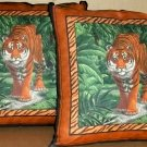 ~ SALE ~ 2 BENGAL TIGER FABRIC THROW PILLOW COVERS or WALL HANGING