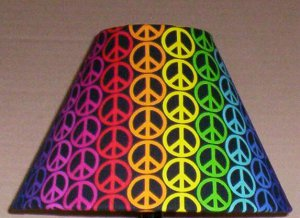 Peace sign fabric lampshade lamp shade rainbow pattern style one 6459 aloadofball Gallery