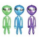 "3 Alien Inflatables! 24"" Tall   Blue, Green & Purple"