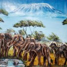 Watering Hole Kilimanjaro Oil on Canvas