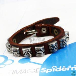 new leather bracelet Semi-cylindrical drum nail PI0045