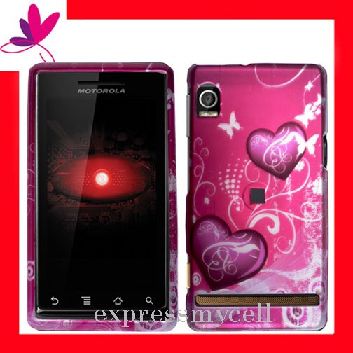 NEW Hard Case Cover for MOTOROLA DROID A855 ~ 2D PURPLE HEART