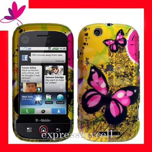 NEW Hard Case Cover for MOTOROLA CLIQ MB200  ~ 2D MATRIX BUTTERFLY