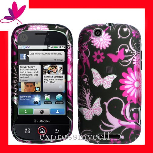 NEW Hard Case Cover for MOTOROLA CLIQ MB200  ~ 2D MIDNIGHT FORAL & BUTTERFLY