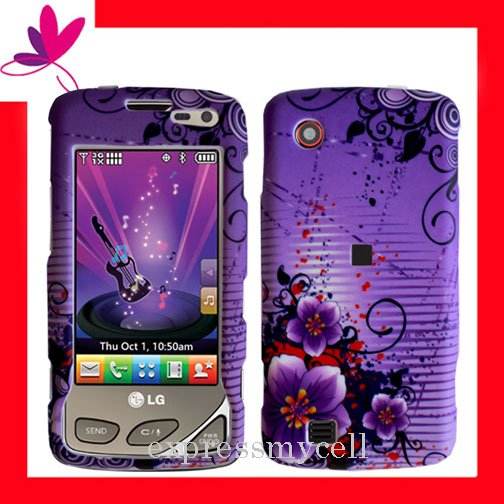 NEW Hard Case Cover for LG CHOCOLATE TOUCH VX8575 ~   PURPLE  FLORAL