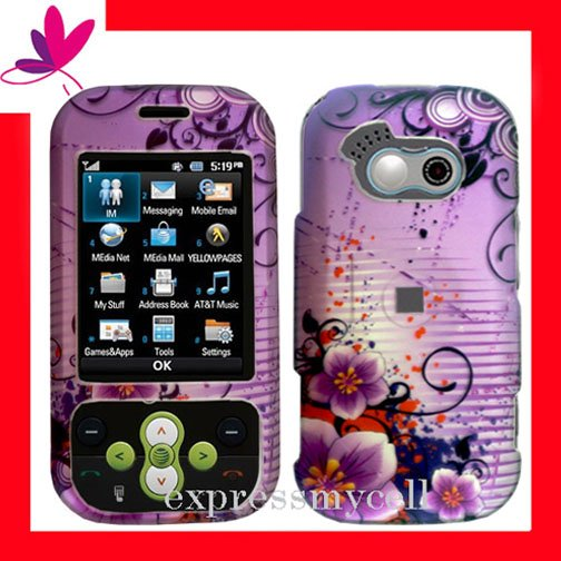 NEW Hard Case Cover for LG NEON GT365  ~ 2D PURPLE  FLORAL