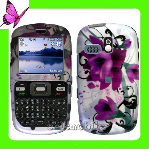Straight Talk  NET 10 Rubberized Coating Case Cover for SAMSUNG R355C ~ 2D PURPLE TULIP