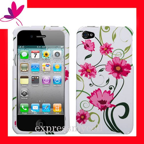 new Premium Hard CASE COVER for APPLE iphone 4 4th Generation 4GS ~ PINK FLOWER