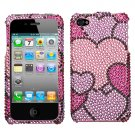 Premium BLING BLING CASE COVER for APPLE iphone 4 4th Generation 4GS ~ DIAMOND PINK & PURPLE HEARTS