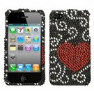 new Premium BLING BLING CASE COVER for APPLE iphone 4 4th Generation 4GS ~ DIAMOND RED HEART