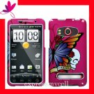 new Premium Hard CASE COVER for HTC EVO 4G ~ PINK BUTTERFLY SKULL