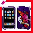 NEW PREMIUM HARD CASE for APPLE IPOD TOUCH 2ND 3RD GENERATION ~ PURPLE BUTTEFLY SKULL
