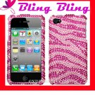 Premium BLING BLING CASE COVER for APPLE iphone 4 4th Generation 4GS ~ DIAMOND PINK & SILVER ZEBRA