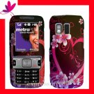 STRAIGHT TALK  &  NET 10 Premium RUBBERIZED COATING Case Cover Samsung R451C R451 ~ PINK HEART