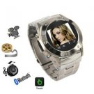 W968 Tri-Band Stainless Steel FM Radio Watch Cell Phone Silver