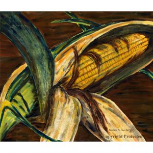 """Ear of Iowa Corn (20.5"""" H x 24"""" W, Largest; Giclee Print of Watercolor Painting)"""