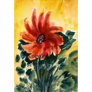 "Red Flower (10"" H x ~7"" W, Small; Giclee Print of Watercolor Painting) (Floral)"