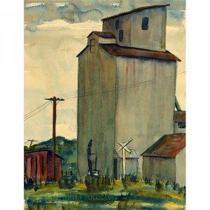 "Grain Elevator, Rolfe, Iowa (17.25"" H x 13.25"" W, Standard; Giclee Print of Watercolor Painting)"