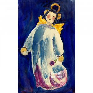 "Angel in Wine and Blue (10"" H x 6"" W, Small; Giclee Print of Watercolor Painting) (Pi Beta Phi)"