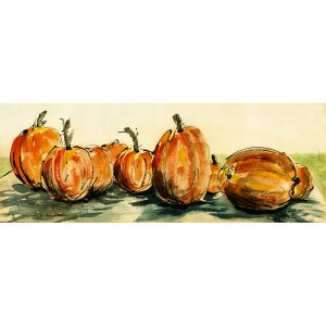 """Pumpkins (4.5"""" H x 12.25"""" W, Small; Giclee Print of Watercolor Painting)"""