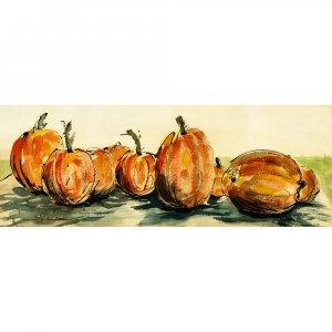 "Pumpkins (6"" H x 16.25"" W, Medium; Giclee Print of Watercolor Painting)"