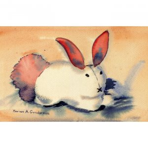"""Bunny (6.5"""" H x 10"""" W, Small; Giclee Print of Watercolor Painting) (Rabbit)"""