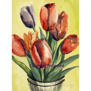 """Tulips (~17"""" H x ~13"""" W, Standard; Giclee Print of Watercolor Painting) (Floral)"""