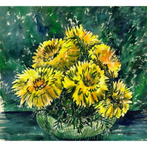 """Yellow Chrysanthemums (10"""" H x 11"""" W, Medium; Giclee Print of Watercolor Painting) (Floral)"""