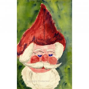 """Santa (10.5"""" H x 6.5"""" W, Small; Giclee Print of Watercolor Painting)"""