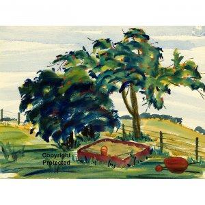 "Sandbox (10"" H x ~13.4"" W, Medium; Giclee Print of Watercolor Painting) (Apple Tree)"