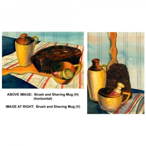"""Brush and Shaving Mug (PAIR of images, each 9"""" x ~13"""", Medium; Giclee Print of Watercolor Painting)"""