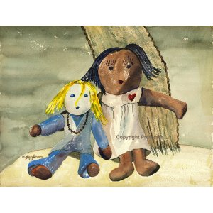 """Rag Dolls (16.6 H x 22"""" W, Grand; Giclee Print of Watercolor Painting)"""
