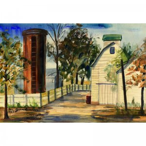 """Farmstead (15"""" H x 22"""" W, Large; Giclee Print of Watercolor Painting)"""