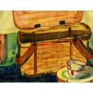 "Picnic Basket (10"" H x ~13"" W, Medium; Giclee Print of Watercolor Painting)"