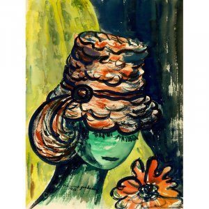 """Eyelashes Under Hat (10"""" H x ~7.5"""" W, Small; Giclee Print of Watercolor Painting)"""