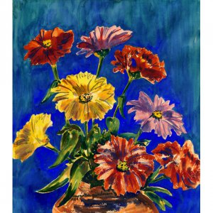 "Zinnias (22.25"" H x 19.5"" W, Largest; Giclee Print of Watercolor Painting)"