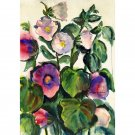 "Hollyhocks (14.25"" H x 10"" W, Medium; Giclee Print of Watercolor Painting)"