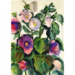 """Hollyhocks (26.75"""" H x 18.75"""" W, Largest; Giclee Print of Watercolor Painting)"""