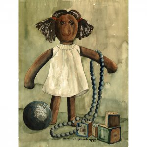 """Doll (22"""" H x 14.25"""" W, Large; Giclee Print of Watercolor Painting)"""