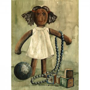 """Doll (13.25"""" H x 10"""" W, Medium; Giclee Print of Watercolor Painting)"""