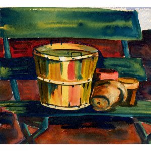 """Basket and Pots (9"""" H x 10"""" W, Medium; Giclee Print of Watercolor Painting)"""