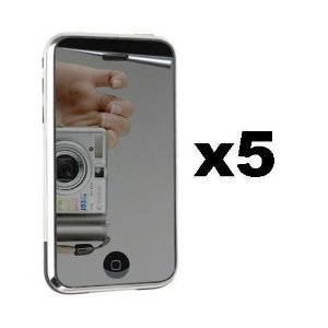 5-Pack Reusable LCD Mirror Screen Protector w/ Cloth for Apple iPhone 3G 8GB 16GB / 3GS 16GB 32GB