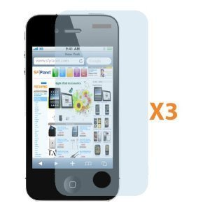 Fosmon Transparent Clear Screen Protector for iPhone 4 4G HD with Cloth - 3 Pack FREE SHIPPING!